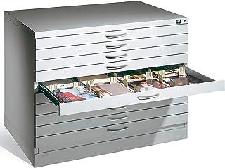 CP Meubles à plans - pour format A1 - 10 tiroirs, gris clair RAL 7035, poids 173 kg - Armoire Armoire d'archivage Armoires...