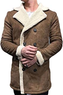 Mens Trench Coat Winter Double Breasted Windproof Coat Lined Jackets