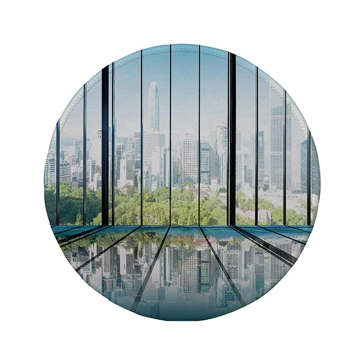 Non-Slip Rubber Round Mouse Pad,Landscape,Sunny Clear Sky Office Skyscrapers in Urban Metropolitan City Scenery,White Black and Green,11.8