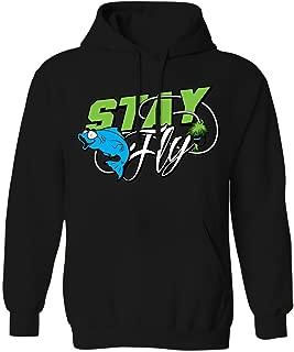 Stay Fly - Funny Fly Fishing Bait Rod Line Mens Hoodie Sweatshirt (Black, Medium)