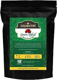 Golden Tips Green Blush Rose Petals & Full Leaf Green Tea, 100g / 3.53oz (40 Cups)