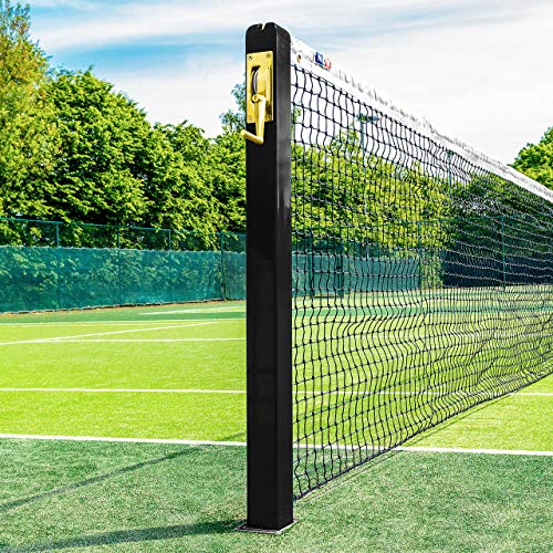 Vermont Square Tennis Posts [ITF Regulation] | 76mm Powder Coated Steel – Optional Ground Sockets (Black, with Ground Sockets)