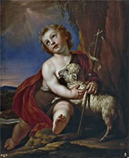 Polyster Canvas ,the High Resolution Art Decorative Prints On Canvas Of Oil Painting 'Palomino Y Velasco Acisclo Antonio San Juan Bautista Nino Principio Del 17 Century ', 18 X 22 Inch / 46 X 56 Cm Is Best For Basement Decor And Home Decoration And Gifts
