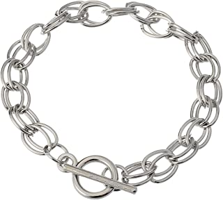 RUBYCA 20Pcs Toggle Clasp Silver Color Charm Rolo Bracelet Double Oval Link Chain 20cm DIY Jewelry