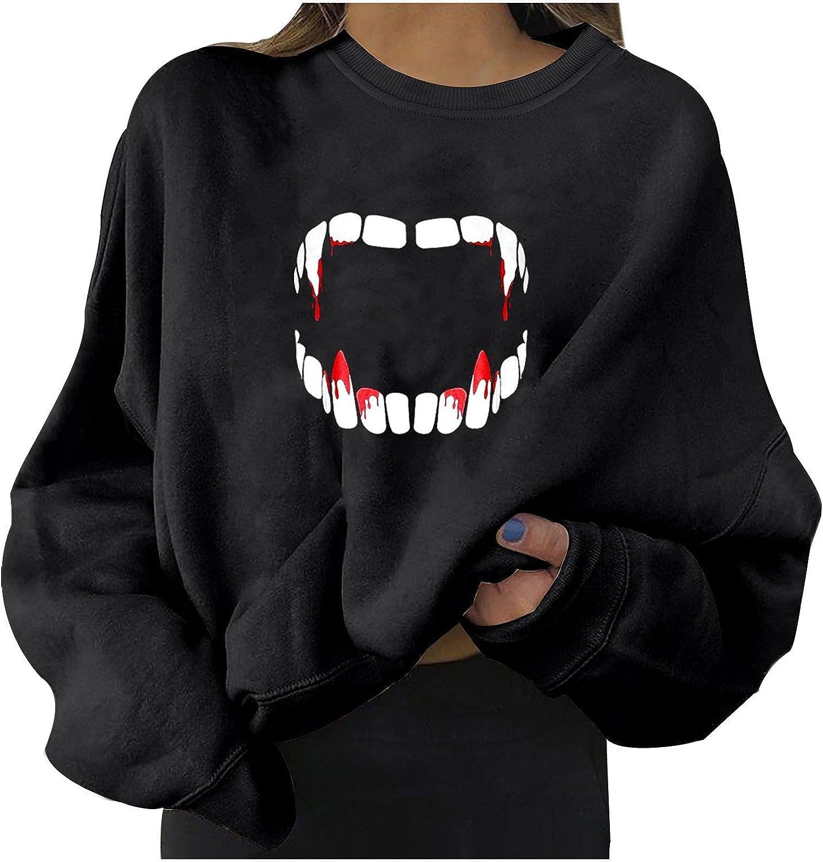 WANGXIYAN Women Halloween Oversize Crewneck Sweatshirts Casual Long Sleeve Loose Pullover Fashion Print Comfy Clothes Jumper