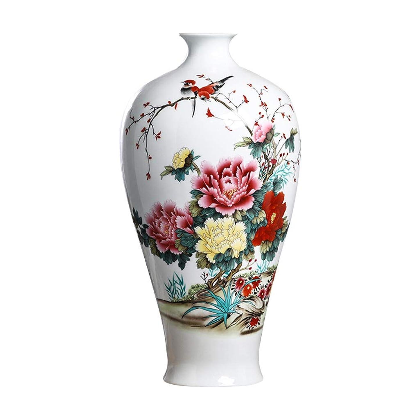 バッジ中世の分注する花器 ベースホワイトで装飾アートホーム世帯ウェディングリビングルームベッドルームオフィステーブル用セラミック花瓶古典花と鳥ハイグレード 花瓶