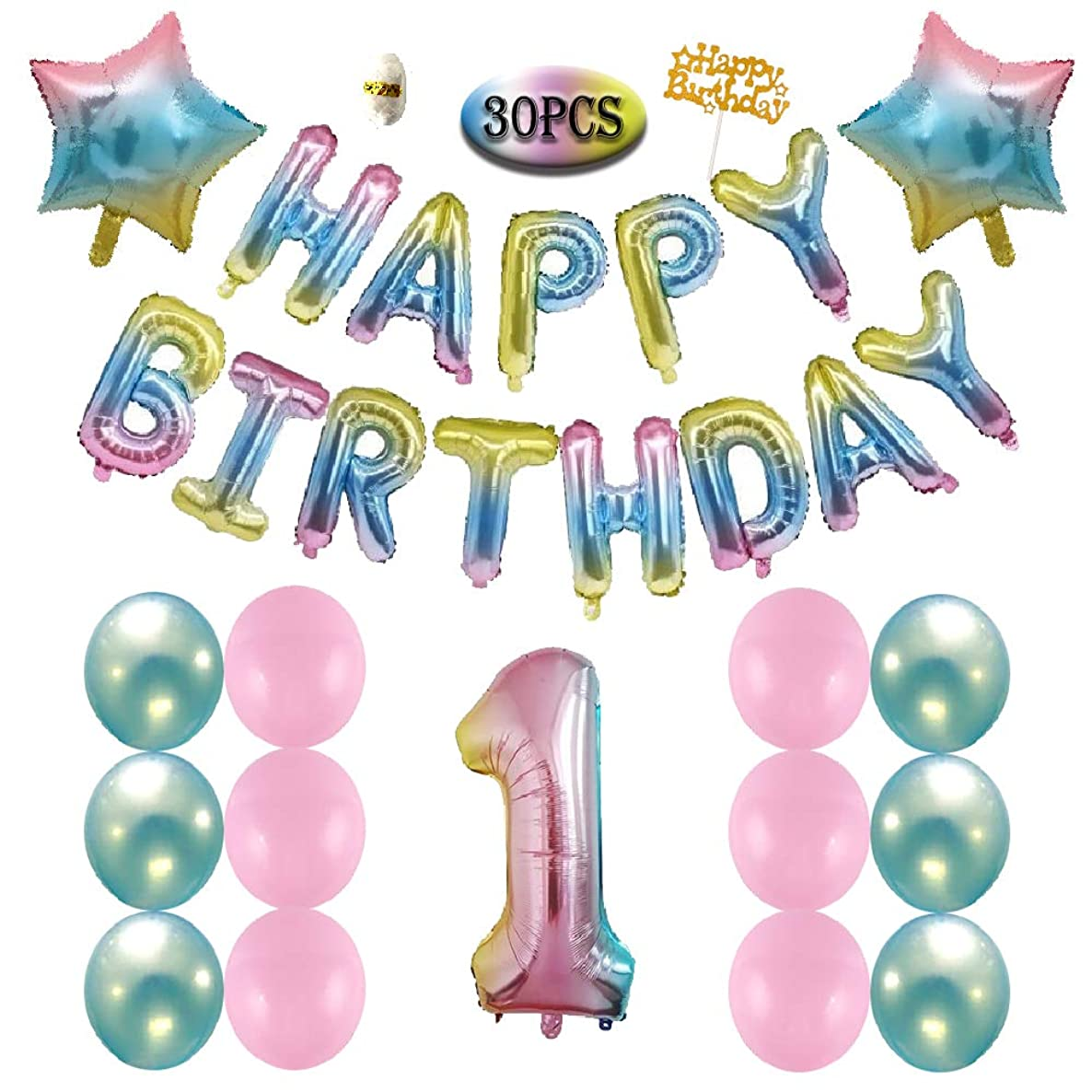 1st First Girls Boys Birthday Decorations Gradient Balloons Happy Birthday Balloons Colorful Happy Birthday Banner Pink Blue Latex Balloons Star Balloons Birthday Party Supplies (1st)