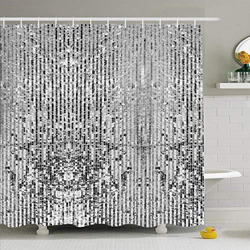 N\A Duschvorhang Set mit Haken Quadratische Schablone Silberwürfel Graue Pailletten Disco Metallic Box Vintage Glamour Pixel Mosaik Texturen Wasserdichtes Polyestergewebe Bad Dekor für Badezimmer