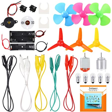 Sntieecr Electric Circuit Motor Kit, Science Experiment Educational Montessori Learning Kits Set for Kids DIY STEM Engineering Project
