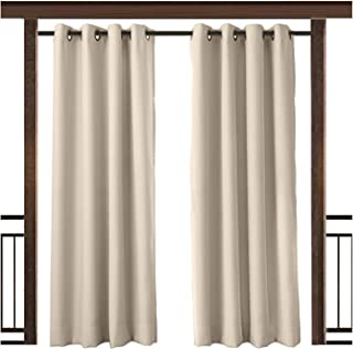 TWOPAGES Outdoor Curtain Waterproof Rustproof Grommet Drape Beige 100 W x 108 L Inch, for Front Porch Pergola Cabana Covered Patio Gazebo Dock Beach Home (1 Panel)