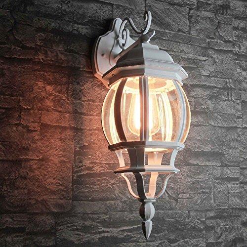 Rustieke wandlamp voor buiten in wit E27 230V tot 60 watt buitenlamp buitenlamp wandlamp verlichting binnentuin terrasverlichting [energieklasse A ++]