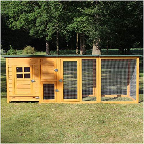 Zooprinz Hühnerstall XXL - modernes Hühner Gehege - Kleintierstall Hühnervoliere für draußen mit Freilaufgehege XXL - für Kleintiere Hühner Wachteln (Stall Flexi mit EXTRA Hühner Auslauf)