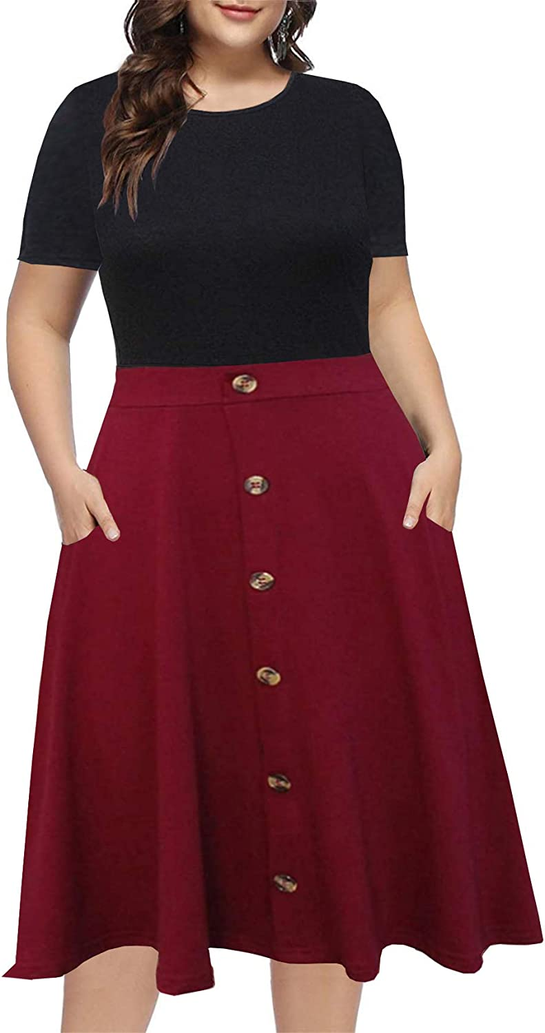 BEDOAR Women's Plus Size Work Party Dresses Short Sleeve Colorblock Button Down Knee-Length Flared A-Line Dress with Pockets
