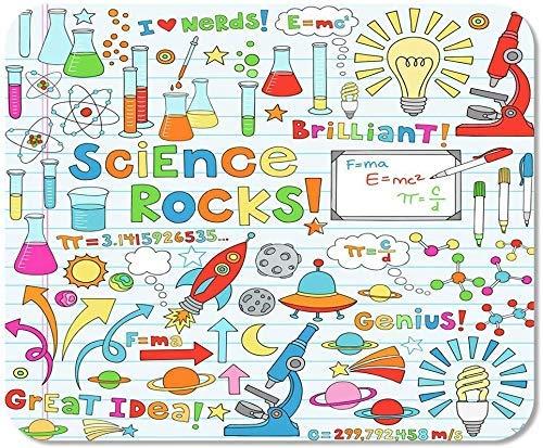 Emonye rutschfestes Mauspad für Computer, Büro, Wissenschaft, Schule, Kritzeleien, Chemie, Physik, Mikroskop, Moleküle, Schulspiel, Computer, Arbeiter, 25 x 30 cm
