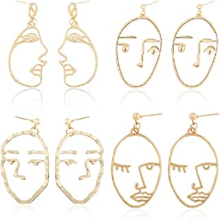 Abstract Beauty Girl Face Emoji Clip on Earrings with Crystal January Birthstone Dangle