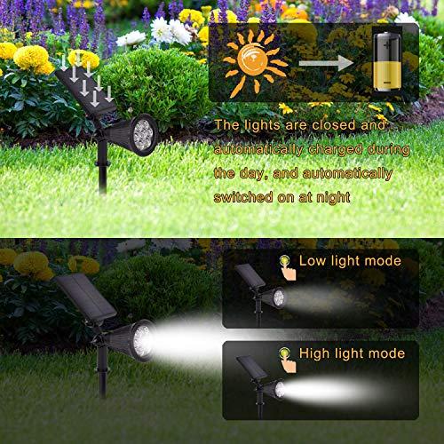 Solar Spotlights Outdoor, Waterproof 7 LED Solar Landscape Spot Lights Auto On/Off Solar Outdoor Lights for Garden Yard Driveway Porch Walkway Pathway