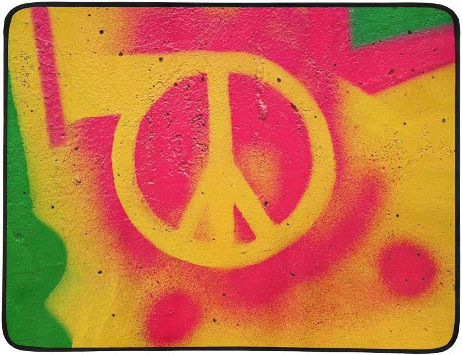 Peace Graffiti Sign On Wall Portable and Foldable Blanket Mat 60x78 Inch Handy Mat for Camping Picnic Beach Indoor Outdoor Travel