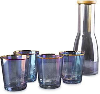 OMGard Crystal Whiskey Decanter Set 5-Piece Bar Set, Rainbow Liquor Glass Carafe with 4 Stemless Wine Glasses Glitter Gold Rimmed for Alcohol Red Wine, Cocktail, Beverage – 34oz Decanter / 15oz Cup