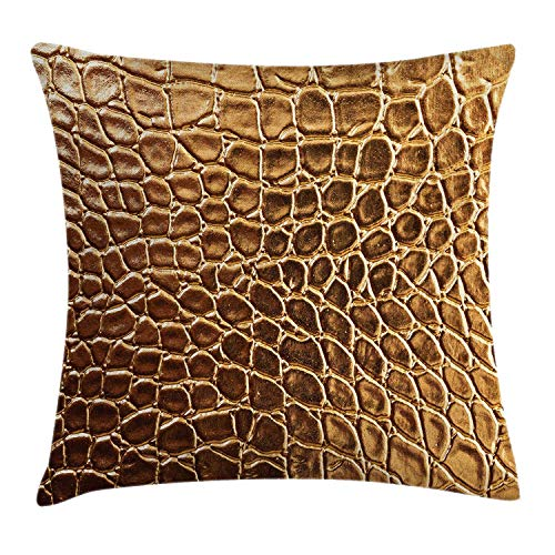 ZHIZIQIU Animal Print Throw Pillow Cushion Cover, Tint Vivid Crocodile Skin Nature Life Toughness High-End Design Artwork, Decorative Square Accent Pillow Case, 18 X 18 inches, Brown Pale Brown