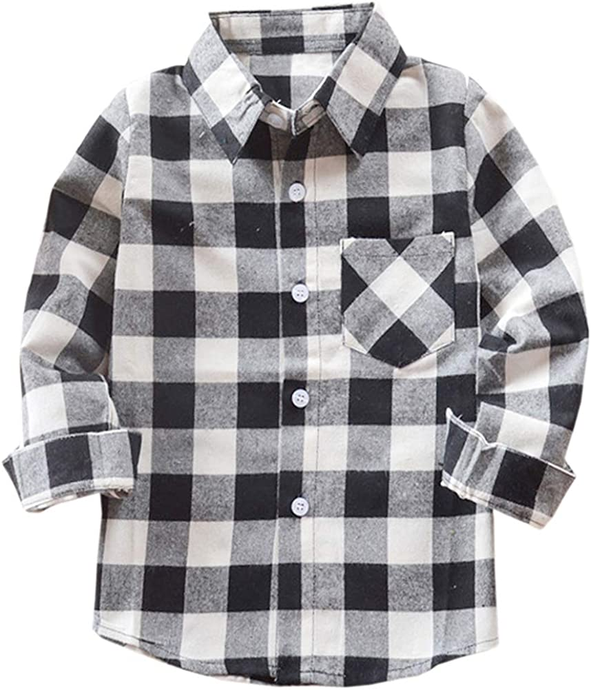 Welity Boys Girls Plaid Max 73% OFF New product type Down Shirt Button Flannel
