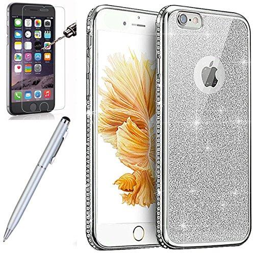 Kompatibel mit iPhone 6S Hülle,iPhone 6 Hülle,[Hartglas Schutzfolie Stylus] Strass Diamant Bling Glitzer Überzug TPU Silikon Hülle Tasche Silikon Case Durchsichtig Schutzhülle für iPhone 6/6S,Silber