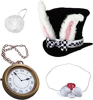 Tigerdoe White Rabbit Costume - Rabbit Costume - Bunny Costume 5 Pc Costume- Playing Cards 4 Pc Costume