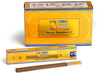 Natural Chandan Incense Sticks - Value Pack - 12 Boxes of 15 Grams Each - By Satya Nag Champa