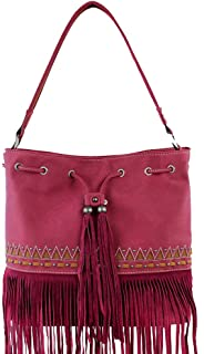 Tote Purse Suede Leather Fringe Tribal Design Red