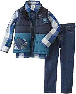 0bd2ef81e376f Infant & Toddler Boys Baby Monster Truck Outfit Blue Plaid Vest Shirt &  Jeans