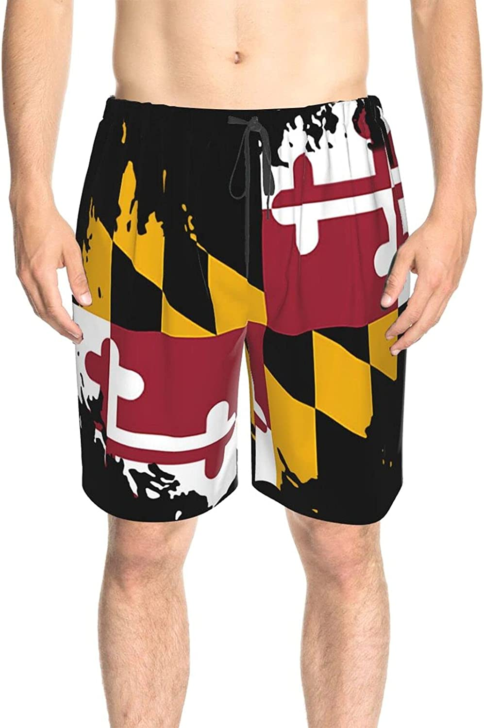 JINJUELS Mens Swim Trunks Maryland State Flag Bathing Suit Boardshorts Quick Dry Comfy Athletic Swimwear Shorts with Liner