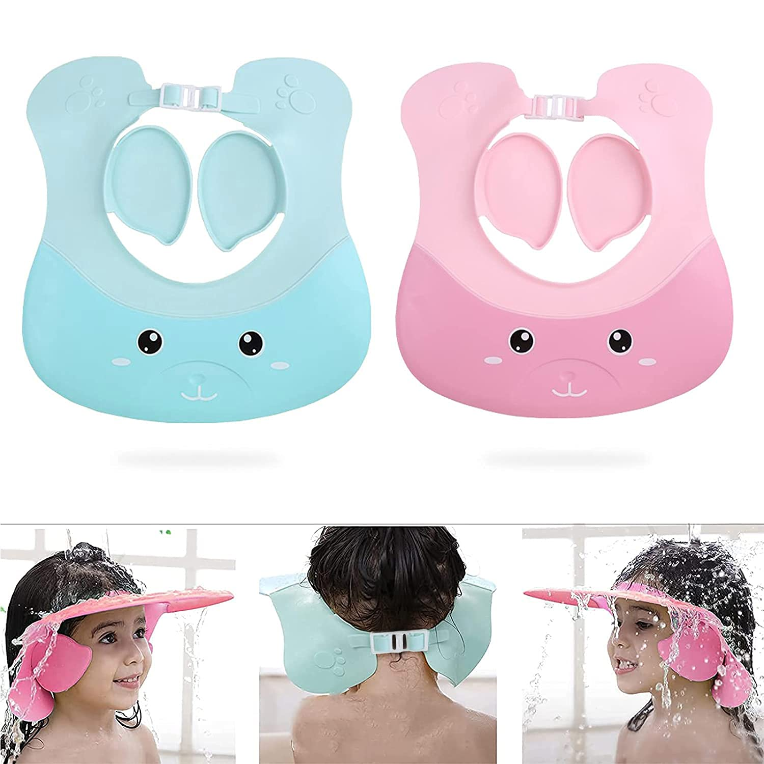 Baby Hair Washing Hat for Toddlers,Silicone Baby Shower Cap Adjustable Bathing Hat, 2pcs Shampoo Shower Bath Visor Hair Washing Protection Bath Cap for Infants Toddlers Baby Kids Children