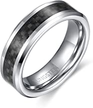 YAN & LEI Tungsten Carbide with Carbon Fibers Inlay Wedding Band Ring for Men Women Polished Finish Comfort Fit Edges 6mm