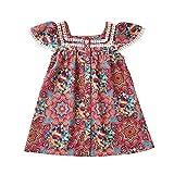 Robe de bébé fille Anmino à volants sans manches Imprimé floral Printemps Été -  Rouge - 4-6 ans