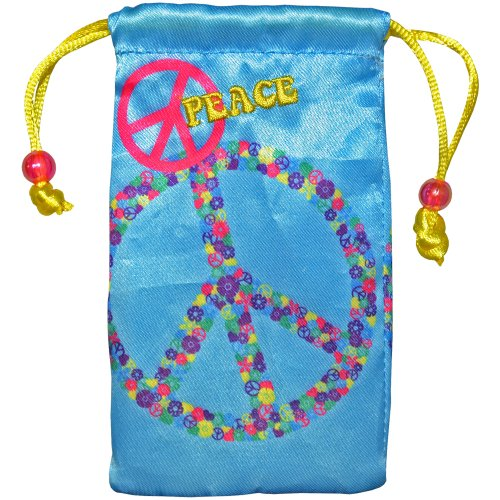Amzer Universal Drawstring Bag Case Cover Pouch for Mobile Phone, MP3 Players, iPod, Electronics and Accessories - Retail Packaging - Peace Sign
