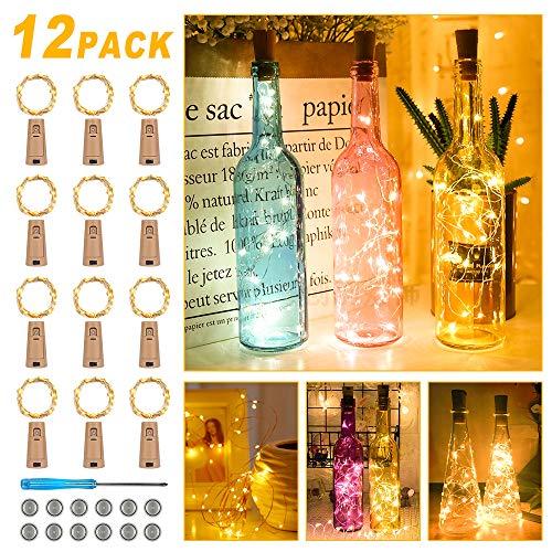 【12 Stück】20 LEDs 2M Flaschen Licht Warmweiß, Lichterkette für Flasche LED Lichterketten Stimmungslichter Weinflasche Kupferdraht, Batteriebetriebene für Flasche DIY, Dekor,Weihnachten