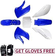 KLX110 Plastic Kit Fairing fender Kit for Kawasaki KX60 Suziki DRZ110 Pit Dirt Bike, Blue & White, Black Gloves