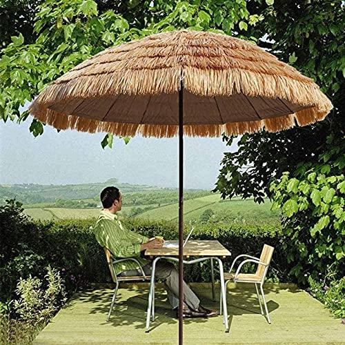 HXZ Ombrello in Paglia Artificiale da 145 cm 4,76 Piedi, ombrellone da Esterno, ombrellone Hawaiano in Paglia, Ombrello Decorativo Pieghevole, Antipioggia, Crema Solare e Protezione UV