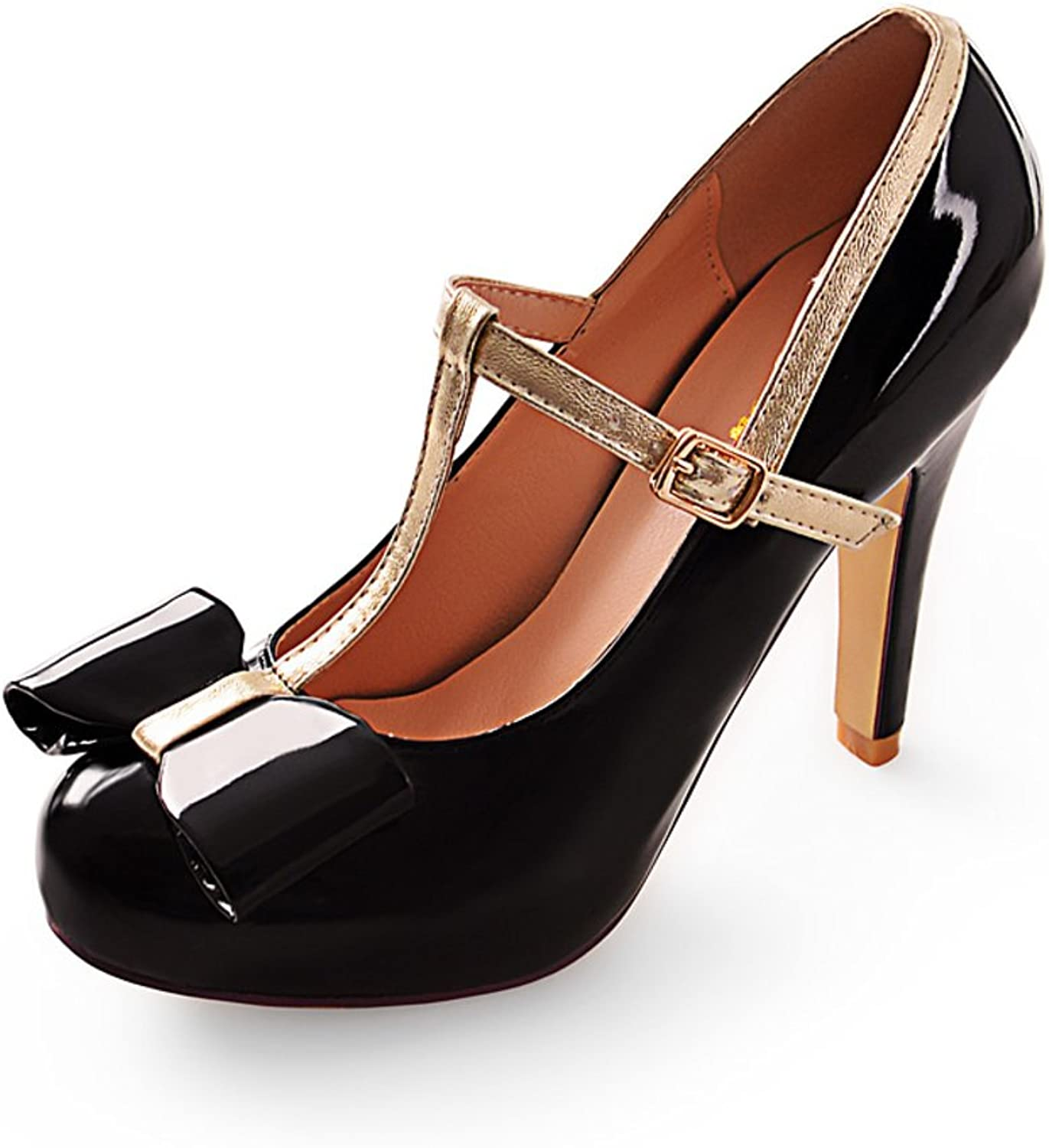WLJSLLZYQ The Korean Version of The Sweet Bow shoes T Belt Buckle Women's shoes