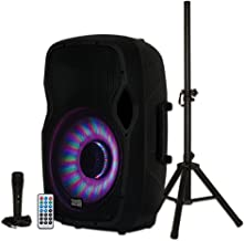 Acoustic Audio by Goldwood Bluetooth LED Light Display Speaker Set - Includes Microphone, Remote Control, and Stand - 15 Inch Portable Sound System, 1000W - AA15LBS, Black, 16 x 14 x 27 Inches