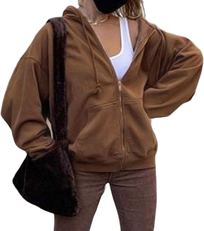 Women's Full-Zip Hooded Jacket Athletic Hoodie Casual Pockets Solid Color Long Sleeve Warm Tunic Sweatshirt Coat