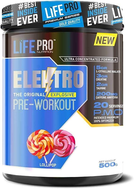 Life Pro Elektro Pre Workout para mejorar el rendimiento muscular – Suplemento deportivo pre entreno para mejorar la recuperación muscular – 500 ...