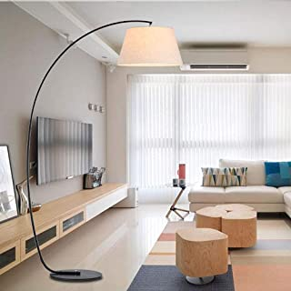 Home Equipment Arc Floor Lamp with Lamp Shade Modern Standing Lamp with Metal Base and Foot Switch for Living Room Bedroom...