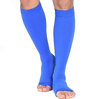 TOFLY, TOFLY - Calcetines de compresión graduados para rodillas, dedos abiertos, 20 a 30 mm, opacos, trabajo para maternidad, lactancia, varices, edema, 1 par de color azul XXL