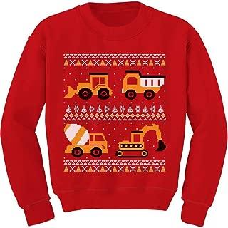 Tractors & Bulldozers Ugly Christmas Sweater Style Toddler/Kids Sweatshirts