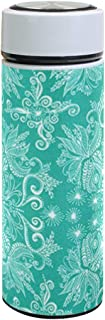 Thermos Turquoise Damask 17.5 OZ Stainless Steel and Vacuum Insulated Water Bottle
