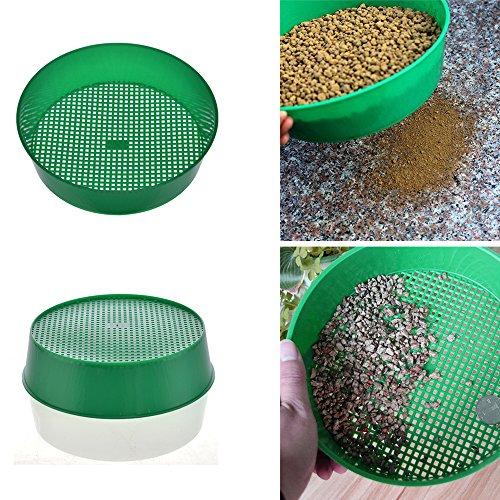Tamiz de jardín de plástico, colador de jardín, herramienta de mano para jardín, malla de tierra, color verde