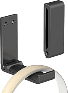 Yocice Headphone Stand Hanger,Headset Holder Mount,Hook Aluminum with Strong Adhesive Tape for Headphones (Black- HH03)