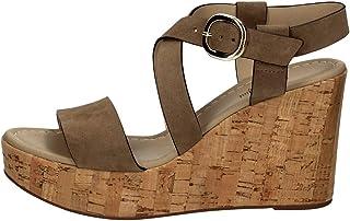 Sandalo da Donna NeroGiardini in Pelle Tabacco o Castoro E012410D. Scarpa dal Design Raffinato. Collezione Primavera Estat...