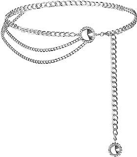 YooAi Cinture A Catena per Donna Cintura con Catena in Vita Multistrato Cintura con Corpo in Metallo