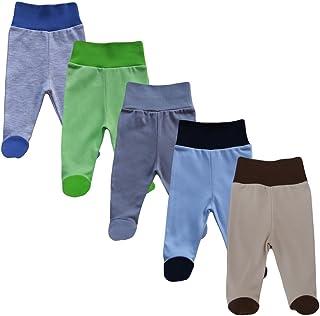 MEA BABY Babyhose mit Fuß Stramplerhose Jungen Baby Hose Strampelhose Mädchen im 5er Pack